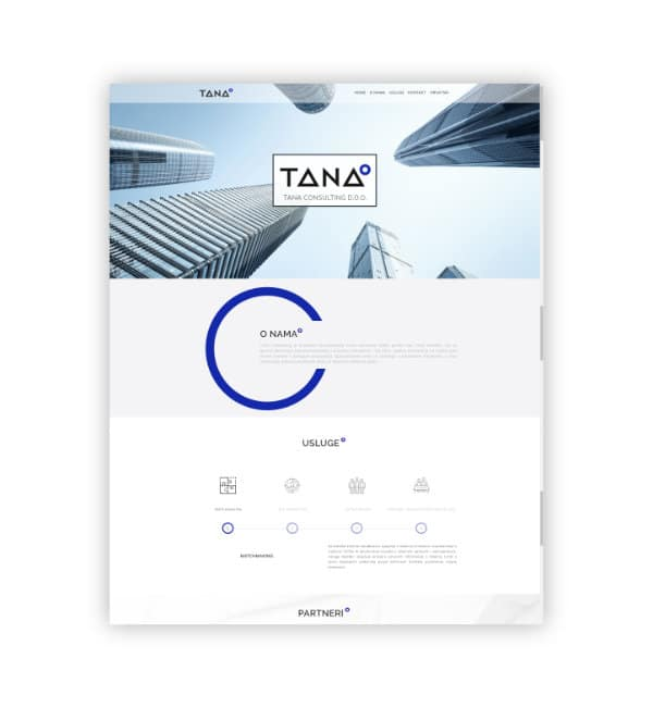 One page web stranica - Tana Consulting